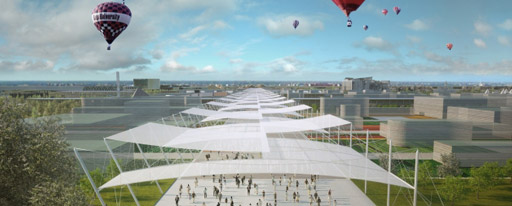 Una visione in rendering del lungo viale centrale della cittadella di Expo 2015
